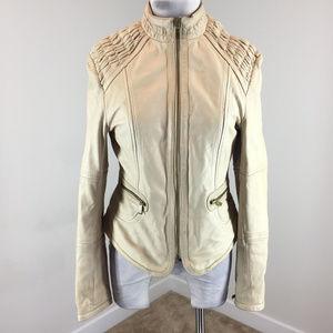 Wilsons leather S Bone Beige Leather Moto jacket